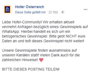 Reaktion von Hofer auf FB