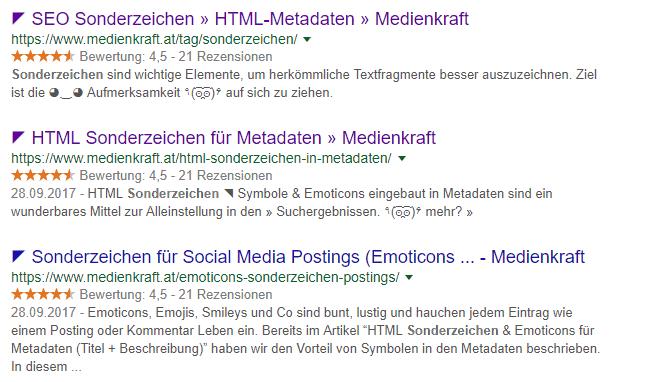 HTML Sonderzeichen für SEO Metadaten und Postings