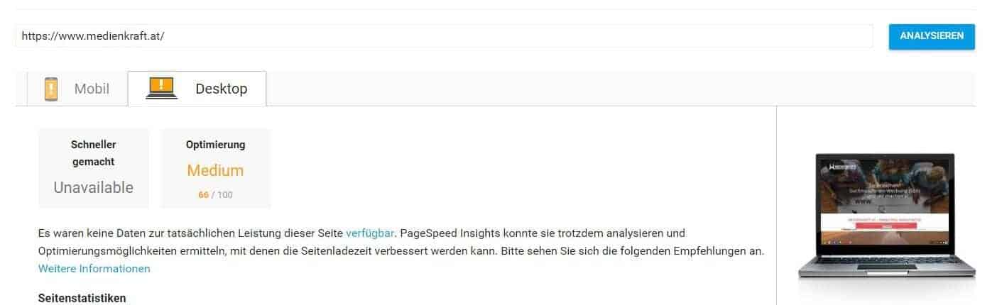 pagespeed insights-ergebnis desktop