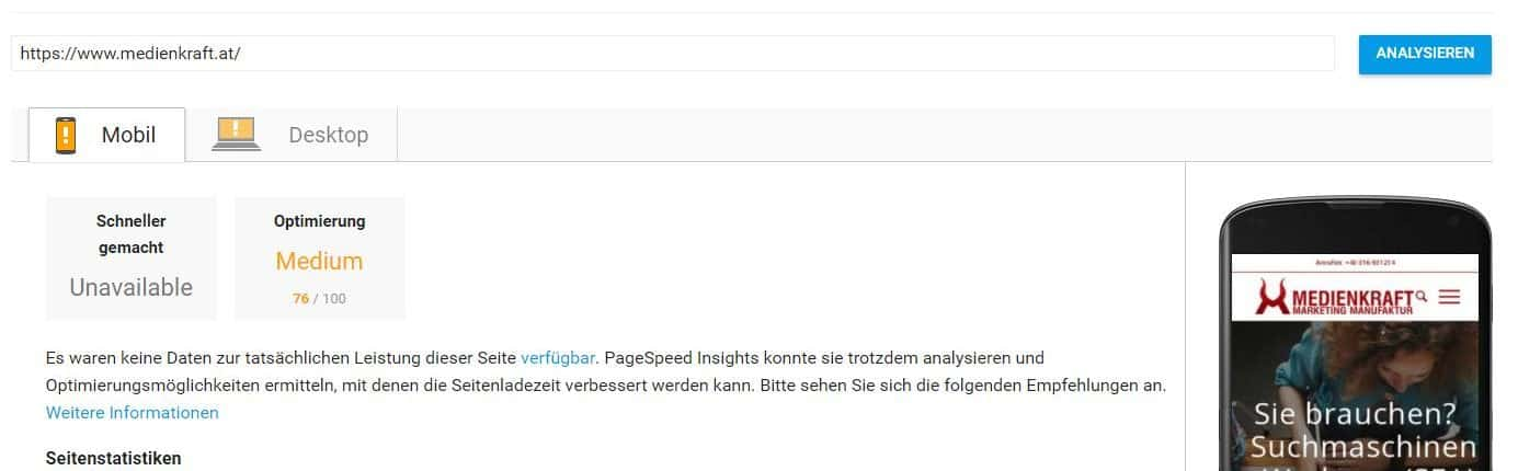 pagespeed insights-ergebnis mobile