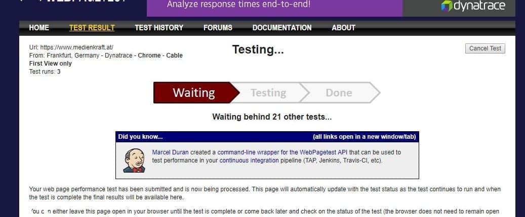 webpagetest-testing