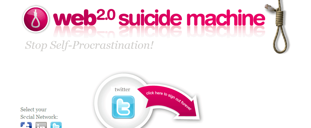 Web 2.0 Digital Suicide Machine Screenshot