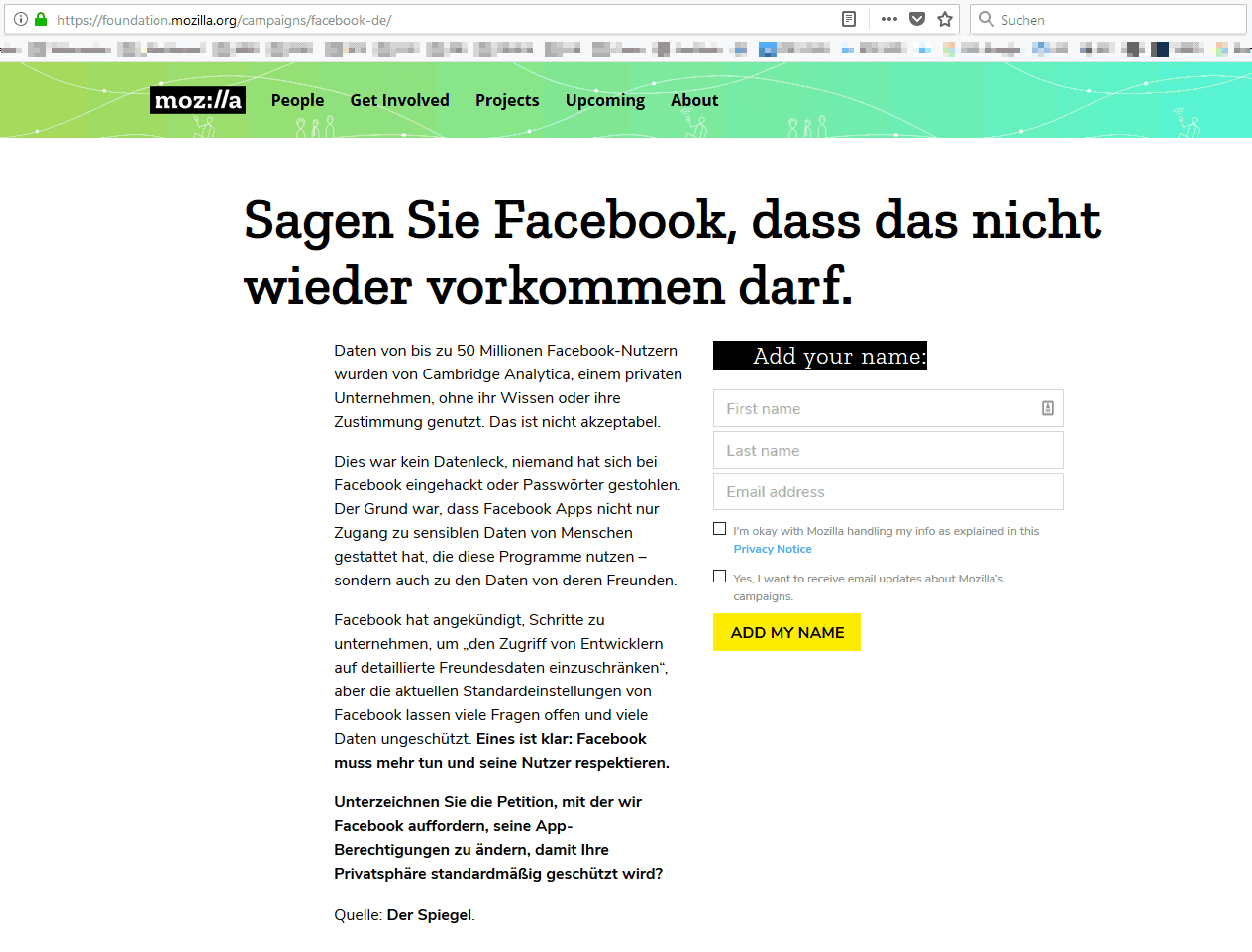 Mozilla Petition gegen Facebook