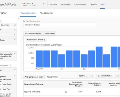 Google Adwords Keyword Planer - Keyword Recherche