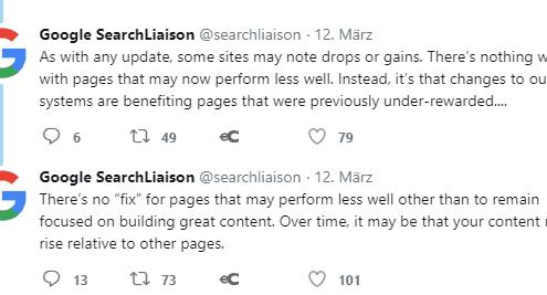 Google Stellungnahme zum Update im März 2018