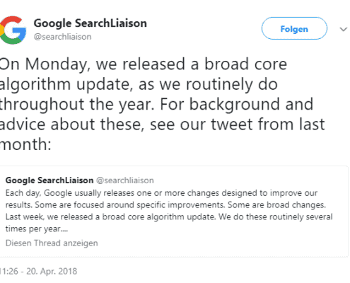 Google Ankündigung Core Algorithmus Update April 2018