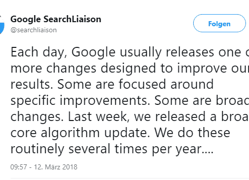 Google Ankündigung des Update im März 2018