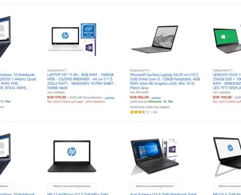 Amazon Werbung-Suchergebnisse