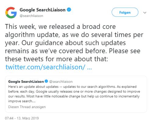 Google Core Update März 2019