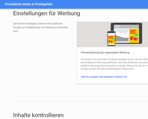 Anzeigen personalisieren - Einstellungen Google Profil