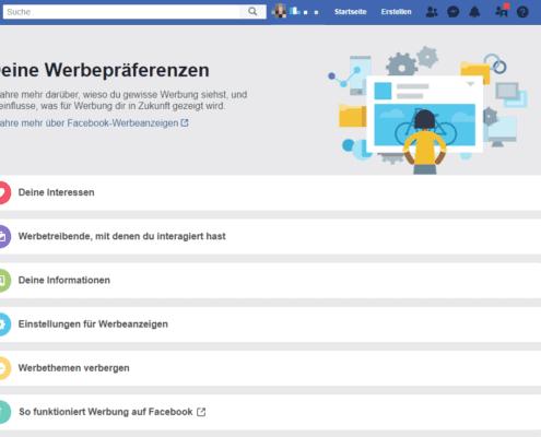 Personalisierte Werbung - Facebook - Einstellungen