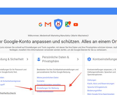 Personalisierte Werbung - Einstellungen im Google Profil