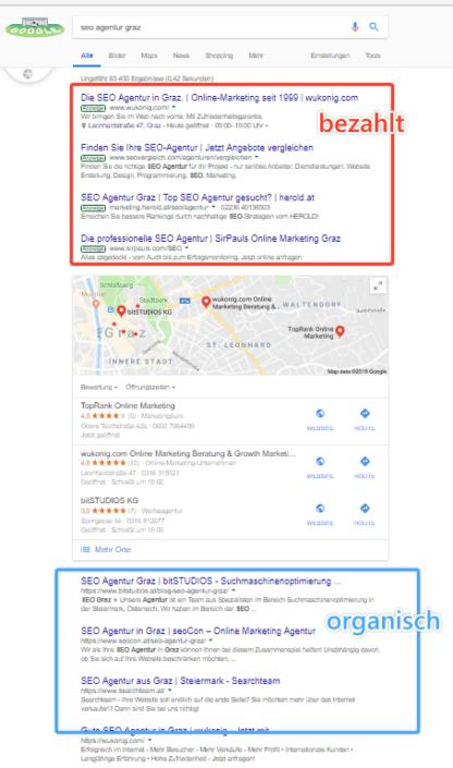 Bezahlte & organische Suchergebnisse