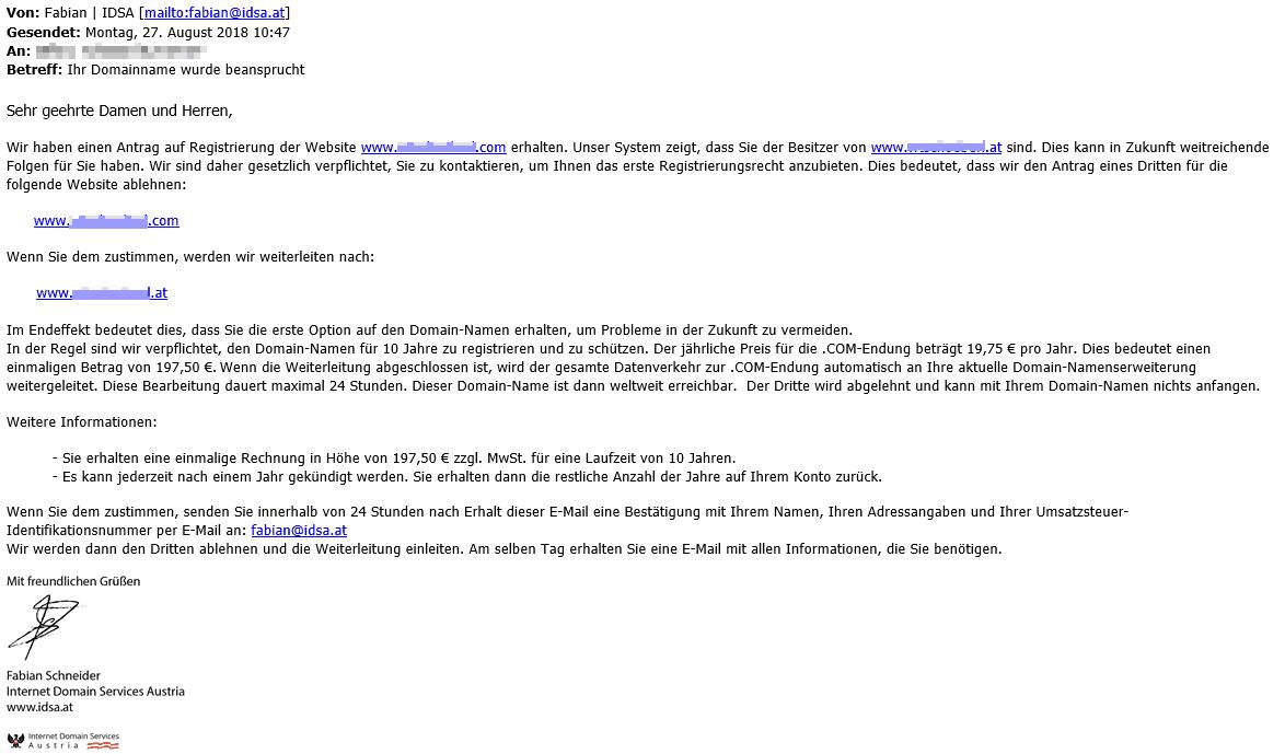 idsa.at Domainbetrug Email