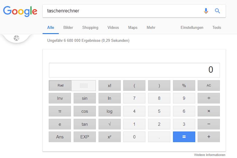 Google Taschenrechner - Google Fakten