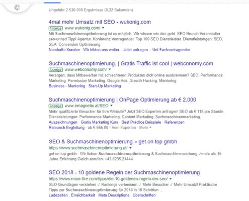 """Google Suche, Operator """"-"""" (Suchbegriff ausschließen)"""