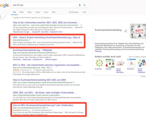 Google Suche, Operator
