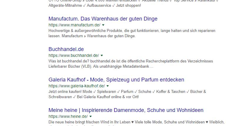 Google Suche, ähnliche Treffer