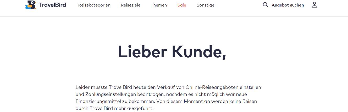 Travelbird Insolvenz Message